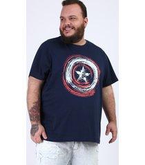 camiseta masculina plus size capitão américa manga curta gola careca azul marinho