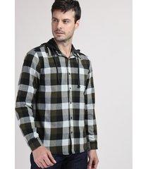 camisa de flanela masculina comfort estampada xadrez com capuz removível preta
