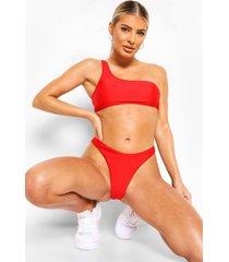 essentials bikini crop top met eén blote schouder, rood