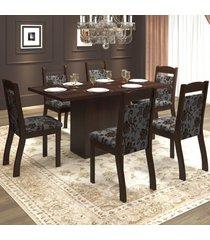 mesa de jantar 6 lugares tafetá ameixa/cobre - mobilarte móveis