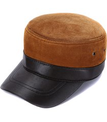 uomo berretto chepì in pelle vera resistente e respirabile antivento e tener caldo d'inverno berretto casual con protezione da sole all'aperta