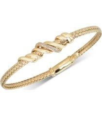 diamond twist bangle bracelet (1/8 ct. t.w.) in 18k gold-plated sterling silver