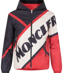 moncler blue, red and white boy jacket with logo
