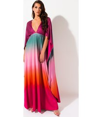 akira sunset queen cape ombre dress