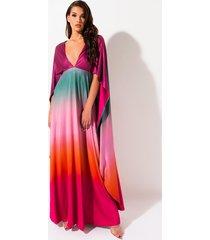 akira sunset queen cape ombre dress