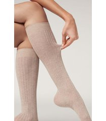 calzedonia women's ribbed long socks with cashmere woman nude size 39-41