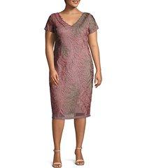 plus multi-tone embroidered short sleeve dress