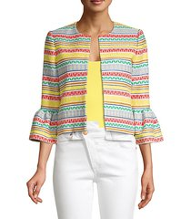 kidman printed stripe ruffle cuff jacket