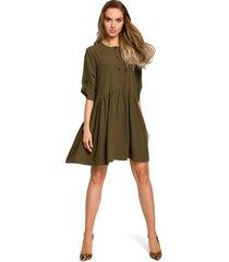 korte jurk be b114 jumpsuit met brede band - geel