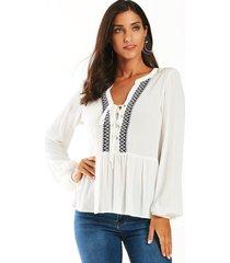 yoins blanco con cuello de pico y cordones diseño blusa con dobladillo con volantes
