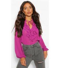 chiffon blouse met geplooide kraag, raspberry