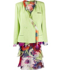 chanel pre-owned floral skirt suit - green