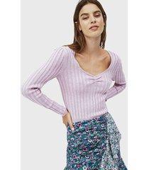 sweater pepe jeans lila - calce ajustado