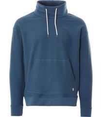 armor lux patterson heritage mock neck sweatshirt | stewart blue | 78494-u6p