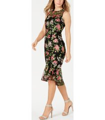 calvin klein embroidered illusion high-low dress