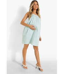 zwangerschap gesmokte jurk met rugstrikjes en bandjes, light blue