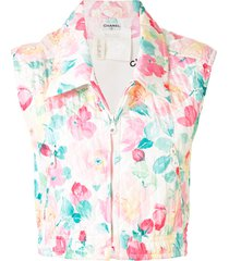 chanel pre-owned diamond quilted floral cropped vest - white