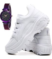 tãªnis sapatãªnis casual plataforma fashion com relã³gio luxury feminino dubuy 728el branco - branco - feminino - sintã©tico - dafiti