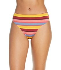 women's seafolly baja stripe high waist bikini bottoms, size 10 us / 14 au - yellow
