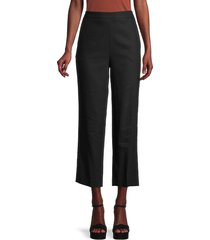 st. john women's linen-blend cropped pants - caviar - size 6