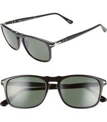 persol 54mm square sunglasses - black/ black