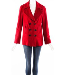 burberry london red wool cashmere blazer double breasted pea coat red sz: m