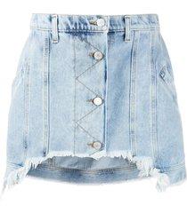 short frayed denim mini skirt