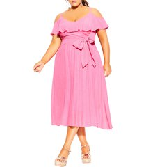 city chic romantic tie cold shoulder a-line dress, size x-large in fuchsia at nordstrom