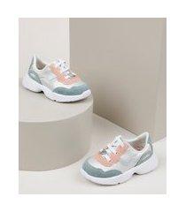 tênis infantil molekinha sneaker jogging com recortes branco