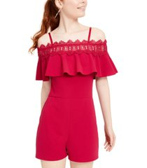 bcx juniors' off-the-shoulder crochet romper