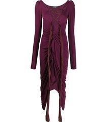 andreas kronthaler for vivienne westwood lace-up detail dress - purple