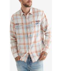lucky brand men's long sleeves no yoke western workwear shirt