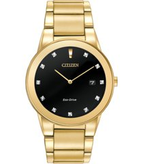 citizen men's eco-drive axiom diamond accent gold-tone stainless steel bracelet watch 40mm au1062-56g