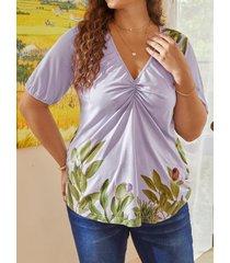 camicetta casual taglia plus manica corta con scollo a v pieghettato stampa foglia per donna