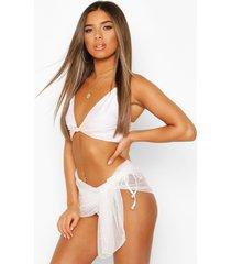 petite dobby mesh beach sarong, white