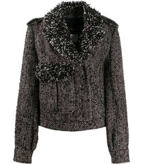 chanel pre-owned frayed trim cropped jacket - black