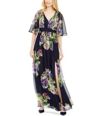 adrianna papell printed chiffon gown