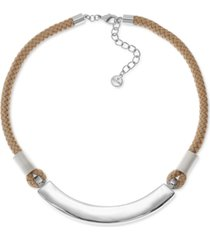 """alfani silver-tone curved bar & braided rope statement necklace, 17""""+ 2"""" extender, created for macy's"""