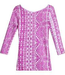 camiseta 3/4 figuras color rosado, talla 6