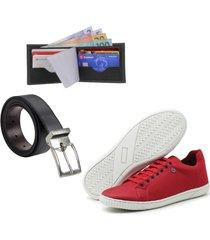 kit sapatenis gb + carteira e cinto vermelho - vermelho - masculino - lona - dafiti