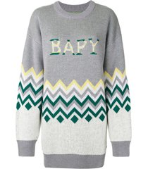 bapy by *a bathing ape® suéter oversized com estampa chevron - cinza