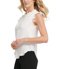 dkny ruffle-trim sleeveless blouse