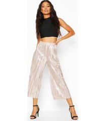metallic plisse culottes, rose gold