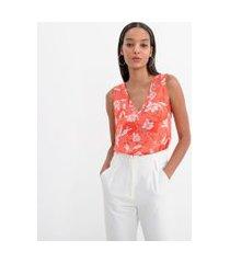blusa regata gola v estampa floral | cortelle | laranja | p