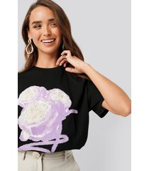 na-kd flower oversized tee - black