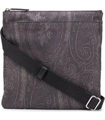 etro bolsa carteiro em jacquard com paisley - preto