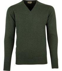 william lockie pullover donkergroen lamswol