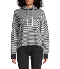 360 cashmere women's rylan striped hoodie - mist chalk - size l