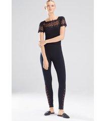 element short sleeve bodysuit, women's, black, cotton, size l, josie natori