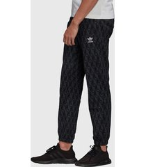 pantalón de buzo adidas originals mono aop pants negro - calce regular